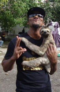 Me with a sloth outside of the Convento de la Popa, a  400 yr old monastery in Cartagena, Colombia (October 2012)