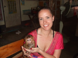 Playing with a baby monkey in Koh Chang, Thailand (2010)